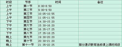 陕西科技大学作息时间表-教务处